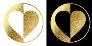 Логотип сердца в золотом Стоковые Изображения