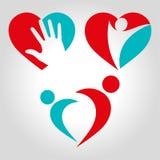 Логотип сердца людей установленный Стоковые Фотографии RF