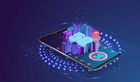 логотип сети 5g над умным городом бесплатная иллюстрация
