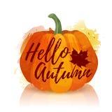 Логотип, символ, осень значка здравствуйте! Конструируйте знамя на праздники осени с оформлением красной тыквы Осень плаката высо Стоковое Изображение RF