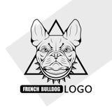 Логотип собаки французского бульдога стоковая фотография