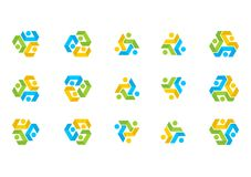 Логотип соединения сыгранности, команда образования иллюстрации, социальный вектор установленного дизайна сети Стоковые Фото