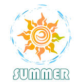 Логотип солнца с текстом иллюстрация штока
