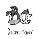 Логотип стиля шаржа осла и обезьяны Стоковое Изображение