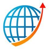 Логотип стрелки диаграммы глобуса на белизне иллюстрация штока