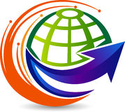 Логотип стрелки глобуса иллюстрация штока