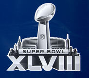 Логотип Супер Боул XLVIII представил на Бродвей на неделе Супер Боул XLVIII в Манхаттане Стоковые Изображения RF