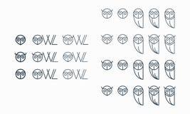 Логотип сыча характера вектора стоковая фотография rf