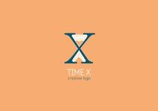 Логотип с двойным смыслом, письмом x и часами Стоковое фото RF