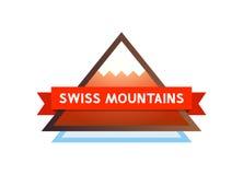 Логотип с горами в Швейцарии Стоковое Изображение RF