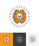 Логотип с мозгом и электрической лампочкой иллюстрация штока