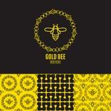 Логотип с насекомым Пчела значка для фирменного стиля Стоковые Изображения