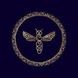 Логотип с насекомым Пчела значка для фирменного стиля Стоковые Изображения RF
