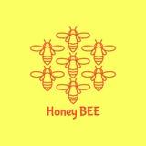 Логотип с насекомым Пчела значка для фирменного стиля Стоковые Фотографии RF