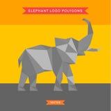 Логотип слона с рефлюксом и низкой поли геометрией Стоковые Изображения