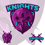 Логотип талисмана рыцарей команды железный Логотип спорта сердитый стоковые фотографии rf