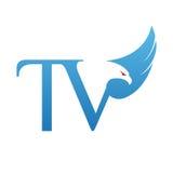 Логотип ТВ инициала хоука вектора голубой Стоковые Фото