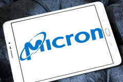 Логотип технологии микрона стоковое фото rf