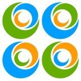 Логотип, форма с 3 кругами - спираль значка, логотип вортекса Стоковая Фотография RF