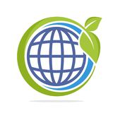 Логотип формы круга значка с концепцией экологически устойчивой земли бесплатная иллюстрация