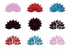 Логотип цветка цвета лотоса установленный иллюстрация вектора