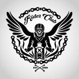 Логотип черепа велосипедиста Стоковое Изображение RF