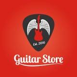 Логотип шаблона вектора магазина гитары иллюстрация вектора