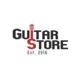 Логотип шаблона вектора магазина гитары иллюстрация штока