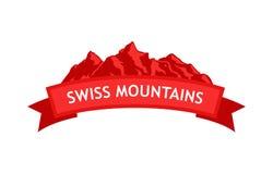 Логотип швейцарских гор Стоковое Изображение