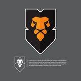Логотип льва головной в плоском дизайне Минимальный логотип на серой предпосылке Стоковое Изображение