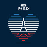 Логотип Эйфелева башни, национальный национальный флаг Франции Стоковые Изображения