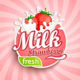 Логотип, ярлык свежего молока клубники Стоковые Фотографии RF