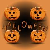 Логотип для желтой тыквы хеллоуина Стоковые Изображения RF