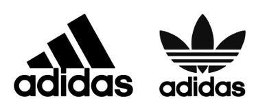 Логотип Adidas на белой предпосылке стоковое изображение rf