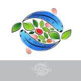 Логотип Aquaponic с рыбами стоковое изображение