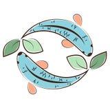Логотип Aquaponic с рыбами стоковая фотография