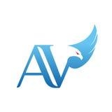 Логотип AV инициала хоука вектора голубой Стоковое Изображение RF
