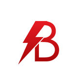 Логотип b письма красного болта вектора электрический Стоковое Фото