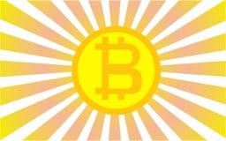 Логотип Bitcoin на оранжевой предпосылке померанцовые лучи также вектор иллюстрации притяжки corel Стоковые Фотографии RF