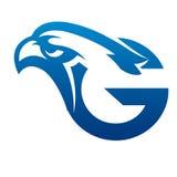 Логотип c инициала орла вектора голубой Стоковое Изображение RF
