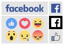 Логотип Facebook новые и значки реакций Стоковые Фото