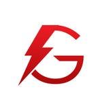 Логотип g письма красного болта вектора электрический Стоковые Изображения RF