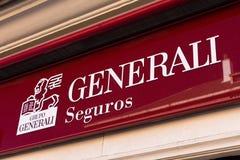 Логотип Generali Seguros на магазине Generali Seguros стоковая фотография