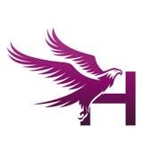 Логотип h инициала хоука вектора фиолетовый храбрый Стоковое Фото