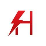 Логотип h письма красного болта вектора электрический Стоковое Изображение RF