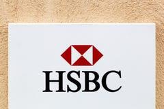 Логотип HSBC на стене Стоковое Фото