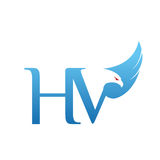 Логотип HV инициала хоука вектора голубой Стоковое фото RF