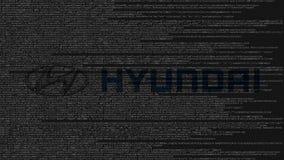 Логотип Hyundai сделанный исходного кода на экране компьютера Редакционная loopable анимация иллюстрация штока