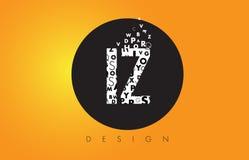 Логотип IZ i z сделанный маленьких букв с черным кругом и желтым b Стоковые Изображения RF
