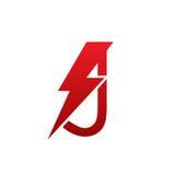 Логотип j письма красного болта вектора электрический Стоковые Изображения